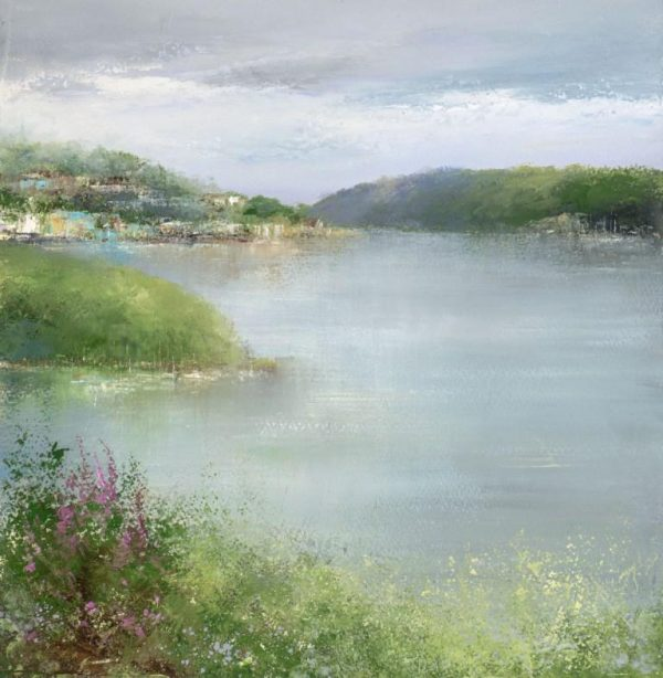 Foxgloves Watch Over the River Dart...oil on paper...33 x 32cm ...£895.00