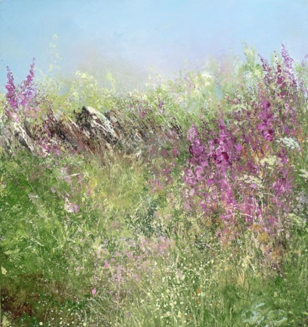 Foxgloves and Wild Flowers, Little Dartmouth...oil on paper...21 x 20cm...£575.00