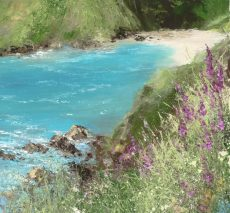 Foxgloves and a Pretty Cove on the Way to Little Dartmouth....oil on paper....22 x 20cm...£595.00