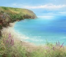 Foxgloves at Blackpool Sands...oil on paper...36 x 42cm....£995.00