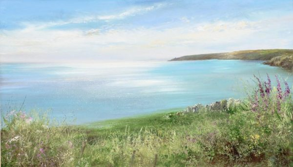 Gentle Evening Light over Start Point....oil on paper .....29 x 50cm....£950.00