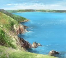 Glorious View from the Coastal Path, Looking Towards the Entrance to Dartmouth...oil on paper...45 x 51cm...£1,450.00h
