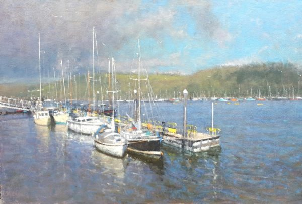 Robin Mason - Jetty at Dartmouth 50x76 Oil on canvas and is £1295.