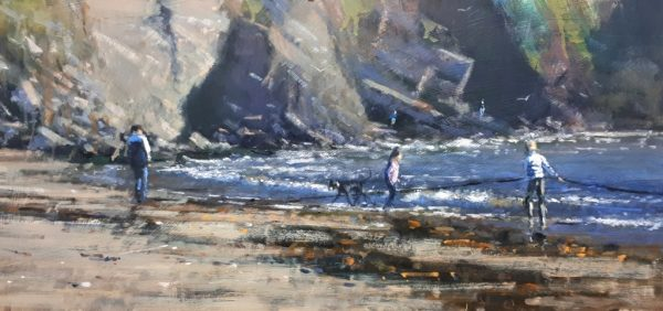 Robin Mason - Pulling the ropes, Hope Cove 51x24cm £750