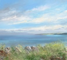 Spring Gorse and Light, Start Point...oil on paper...47 x 52cm....£1,500.00
