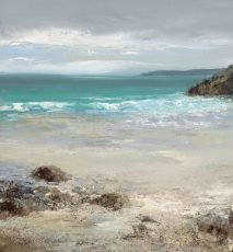 Turquoise Sea at Torcross...oil on paper...20 x 18cm ....£550.00