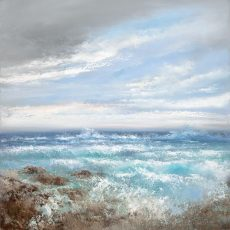 A Beautiful Summer Sea rolls in at Torcross - oil on canvas 95 x 95cm - £3,250.00