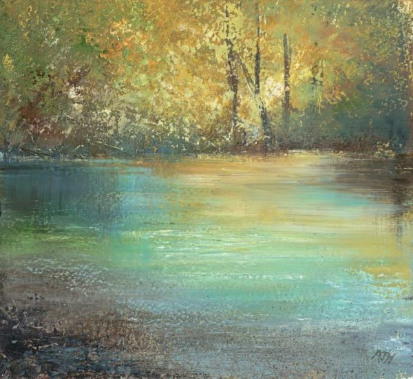 A Quiet Place on the River Dart - oil on paper- 17 x 18.5 cm - £525.00