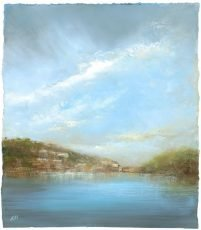 Evening Light over the River Dart - oil on paper - 25 x 23 cm £650.00