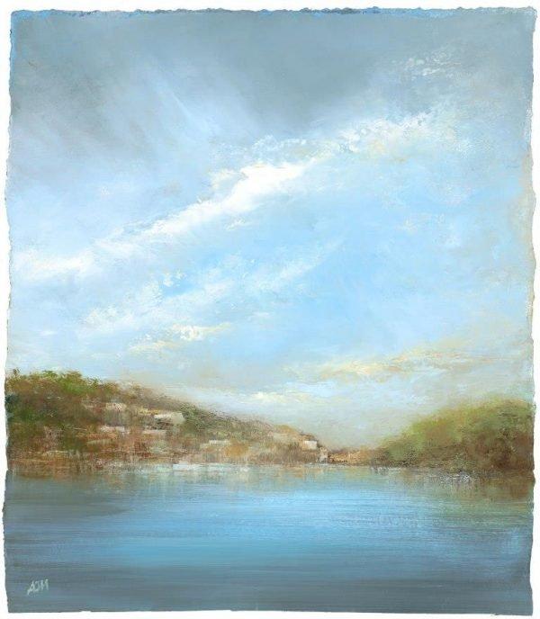 Evening Light over the River Dart - oil on paper - 25 x 23 cm £650.00