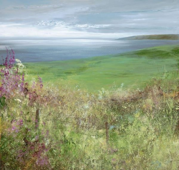 Foxgloves Watch over Start Bay - oil on paper- 50 x 53cm - £1,695.00