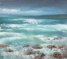 High Tide and Fresh Easterly Breeze at Torcross - oil on paper - 21 x 24 cm - £625.00