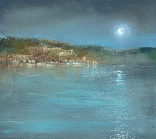 Moonlight over Kingswear from Bearscove -oil on paper- 15.5 x 18.5cm - £525.00