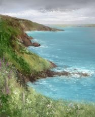 On the Coastal Path to Little Dartmouth - oil on paper -51 x 41cm - £1,250.00