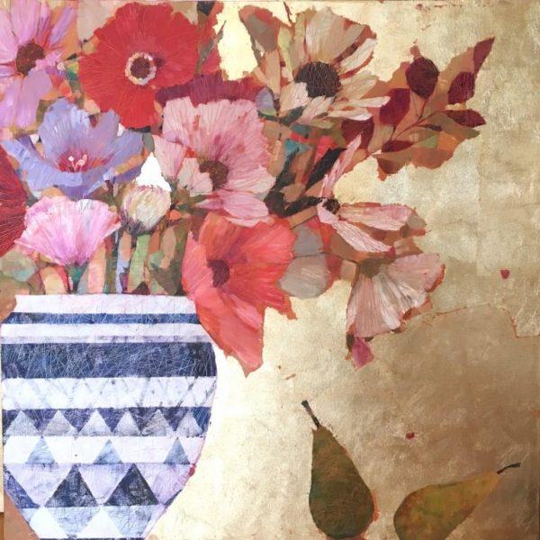Sally Anne Fitter Autumn Flowers 102x102 in £1395 Framed