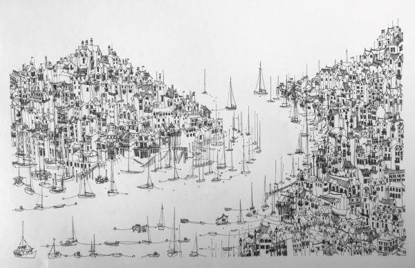 """Kate Barker """"From Dartmouth To Kingswear"""" 34cm x 54cm"""