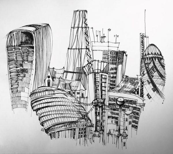 "Kate Barker ""London Bridge Views"" 56cm x 66cm unframed £1,600"