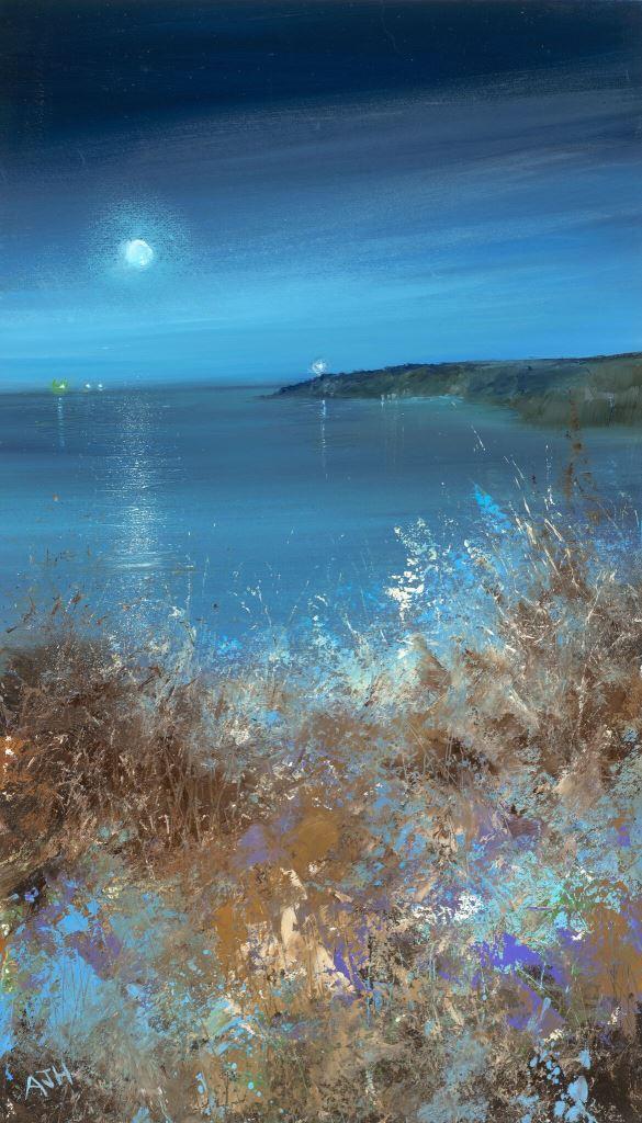 Amanda Hoskin Moonlight Colours, Start Point....oil on paper...37 x 21cm ...£750.00