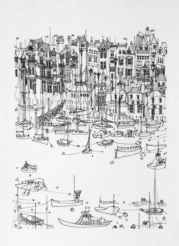 "Kate Barker Along South Embankment"" 19cm x 27cm - £525"