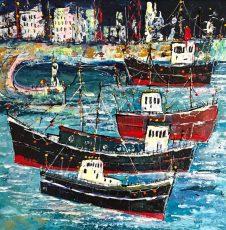 Martin John Fowlerc Busy Harbour East Wharf 59 x 59 cms 2