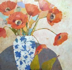 Sally Anne Fitter - poppies in a chinese vase 61x61 £845