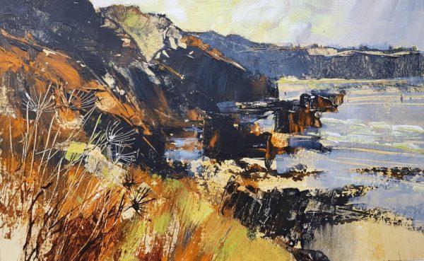 Chris Forsey Autumn cliffs board 36x22 £695