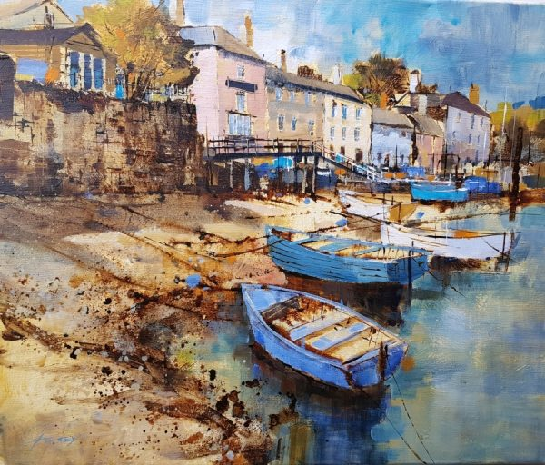 Chris Forsey Dittisham, mooring by the jetty. 60x50 canvas £1350