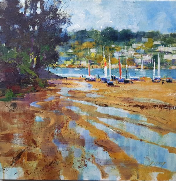 Chris Forsey Preparing to sail, Mill Bay. 50x50 canvas £1250