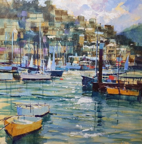 Chris Forsey River traffic, The Dart 51x51 canvas £1250