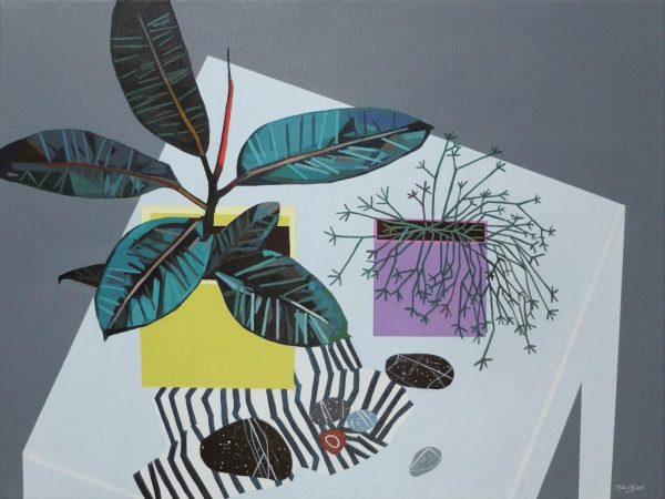 Ficus and Stones_Yellow + Mauve (60x45cm) - £950.00