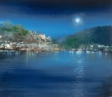 Midnight Moon, Dartmouth...oil on paper...15.5 x 17.5cm....£495.00
