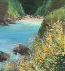 Quiet Cove on the Coastal Path to Little Dartmouth....oil on paper....26 x 25cm...£675.00