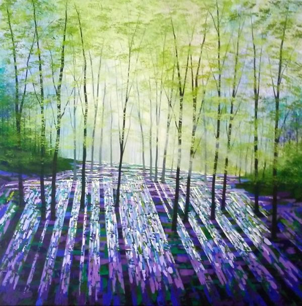 """Forest Sundreams"" acrylics on canvas, 102x102cms £1550"