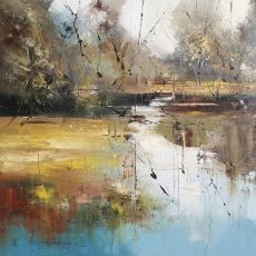 New - Claire Wiltsher Water garden 80x80cm £1295