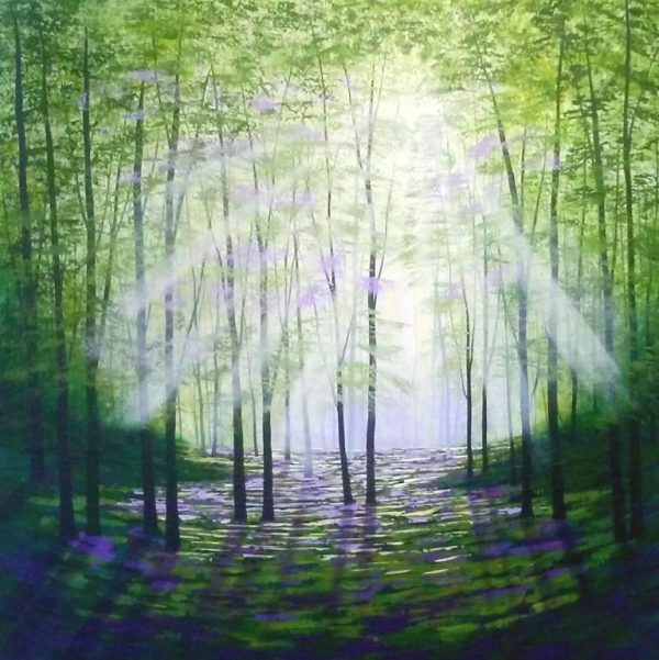 Woodland Bathing, acrylics on canvas 76x76cms £995