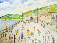 Simeon Stafford, Walking on South Embankment, Dartmouth, 61x46 £1750