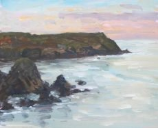 Evening light, Hope Cove, 22x28cm