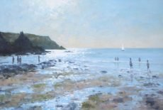 Incoming tide, Hope Cove, 48x71cm