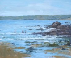 Playing in the sea at Hope Cove, 22x28cm