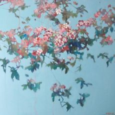 Blossom on a turquoise sky 76x76 £1950