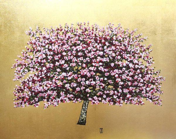 Flowering Garden Lady, Oil on Gold leaf, 80cm x 61cm, £1750
