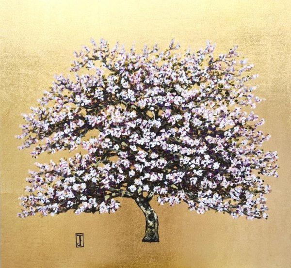 Lilac Blossom, Oil on gold leaf, 45cm x 42cm, £850