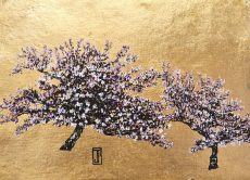 Pearl Blossoms, Oil and Gold leaf on paper, 34cm x 25cm, £495