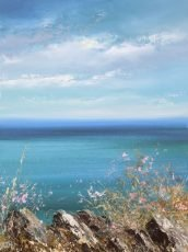 A Bright Spring Morning on the Coastal Path - oil on paper - 16 x 12cm - £450.