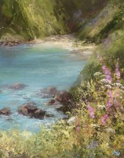 A Quite Cove on the Coastal Path - oil on paper -20.5 x 16.5cm - £550.