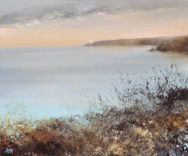 A Tranquil Autumn Evening over Start Bay - oil on paper - 18 x 21.5cm - £575.