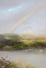 April Showers over the River Dart - oil on paper - 19.5 x 13.5cm - £475.