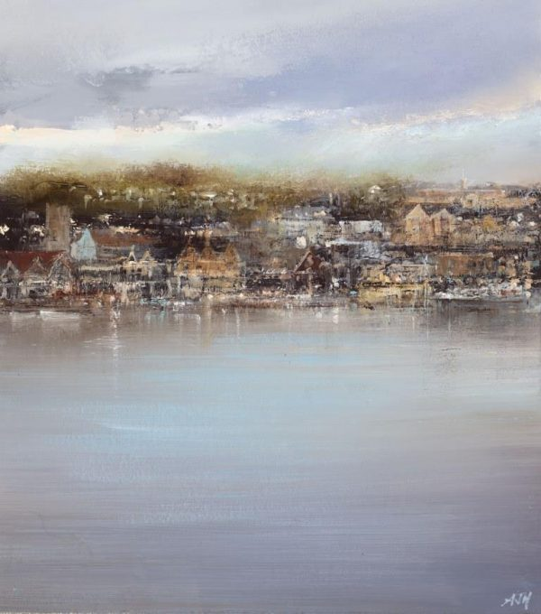Distant View of the Royal Naval College, Dartmouth Waterfront - oil on paper - 24 x 21 cm - £625