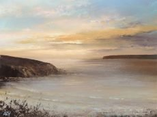 End of the Day, Bigbury on Sea, Devon - oil on paper - 16 x 21cm - £550.