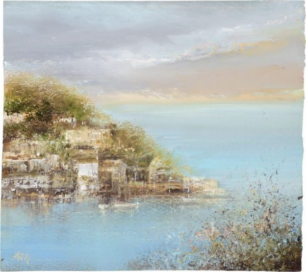 Evening Sky, Late September, Kingswear - oil on paper - 15 x 15cm £450.